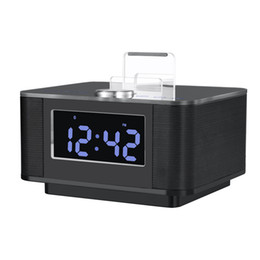 Wholesale Dock Station Music - Wholesale- Brand LCD Digital FM Radio Alarm Clock Music Dock Charger Station Bluetooth Stereo Speaker for iPhone 7 Samsung Xiaomi Huawei