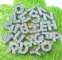 Wholesale 8mm Rhinestone Letter Charms - 8mm full rhinestone A-Z Slide letters Charm DIY Accessories Fit Pet Collar Christmas gift