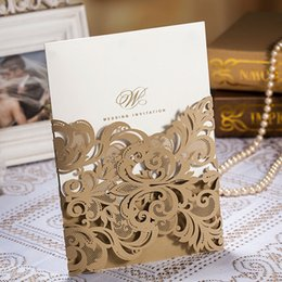Wholesale Invitations Folded Envelopes - Engagement Hollow Gold Flora Wedding Invitations Card Elegant Laser Cut Dinner Party Paper with Envelopes CW3109