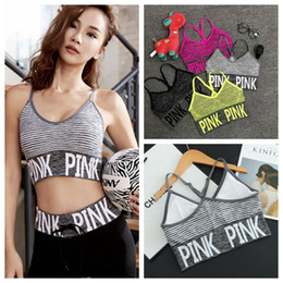 Wholesale Cross Wire - Pink Letter Sports Bra Women Cross Strap Back Bra Vs Pink Quick Dry Padded Shockproof Elastic Running Yoga Tops Vest OOA2142