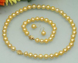 Wholesale Pearl Bracelet Triple - triple strand 8-9mm natural south sea white pearl necklace 17-19