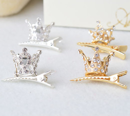 Wholesale Little Girls China - children's crown hairclips jewelry ornaments little girl princess headdress hairpin gold and silver color
