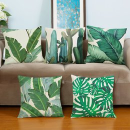 Wholesale Leaf Throw Pillows - cactus leaf decorative pillow creative home furnishing cushion with double sides printing linen cotton throw pillow case 17.7x17.7inch