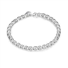 Wholesale Cubic Zirconia 4mm Round - Hot Sale Jewelry 925 Silver Bracelets For Men 4MM Round Box Chain Bracelet Fashion Bracelets Good Gift
