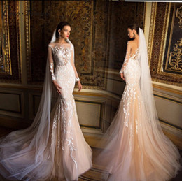 Wholesale Brial Dresses - C.V Quality Long Sleeve Mermaid Wedding Dress Boat neck Europe Fashion Sexy See through Lace Appliques Brial Wedding Gowns W0218