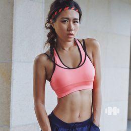 Wholesale Men Womens Underwear - Fitness Yoga Sports Bra Push Up Padded for Womens Gym Running Tank Top Athletic Vest Underwear Shockproof Strappy Sport Bra Top