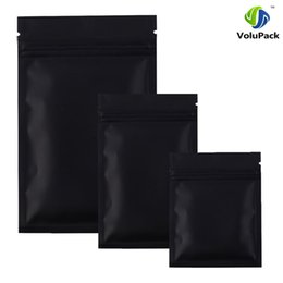 Wholesale Wholesale Black Ziplock Foil Bags - High quality 12 X 18CM,100 X Metallic Mylar ziplock bags flat bottom Black Aluminum foil small zip lock plastic bags