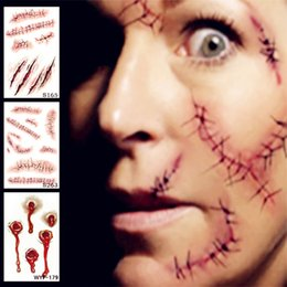 Wholesale Fake Wounds - Hot sale Halloween Zombie Scars Tattoos With Fake Scab Bloody Makeup Halloween Decoration Wound Scary Blood Injury Sticker Toys