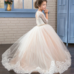 Wholesale Embroidery Bows Girls - Arabic 2017 Floral Lace Flower Girl Dresses Ball Gowns Child Pageant Dresses Long Train Beautiful Little Kids FlowerGirl Dress Formal Wear