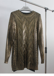 Wholesale Thin Crochet - Wholesale-Korean Fashion Long Sleeve O Neck Sweater Top Gold Foil Metal Color Long Sweaters Pullovers Women Silver High Street Knitwear