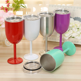 Wholesale Decoration Bottle Wine - 10oz 400ml Vacuum Stainless Steel Cocktail Glass Wine Glass Goblet with Lid Car Cup Red White Green 5pcs lot DEC254