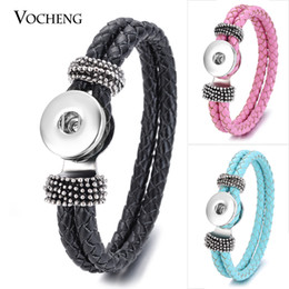 Wholesale Double Leather Charms Bracelet - VOCHENG NOOSA Leather Bracelet Ginger Snap Jewelry 14 Colors Double Braided Vb-013