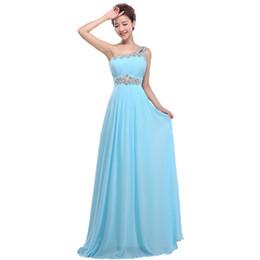 Wholesale Long Dress Shoulders Pad - Evening Dress suosikki crystal beaded Blue One Shoulder Padded big size women chiffon occasion prom dresses Long fata