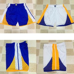 Wholesale Pant Sport For Men - TOP Quality Warriors Retro Running Shorts Men's Sport Training Shorts jersey Team shorts Loose Polyester Classi For men Basketball Pants