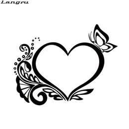Wholesale Heart Decals - Hot Product For Retro Heart Butterfly Flower Car Sticker Interesting Car Styling Vinyl Decals Accessories Decorate JDM