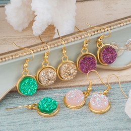 Wholesale Chandelier Pink - DoreenBeads Handmade Resin Druzy  Drusy Earrings Gold Plated Color & Golden Pink Purple Round 34mm(1 3 8