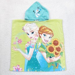 Wholesale Wholesale Hooded Towels For Kids - Girls Anna Elsa cartoon printing hooded bath towel 6 colors 60x120cm Infants kids cute fashion beach towel for 2-7T