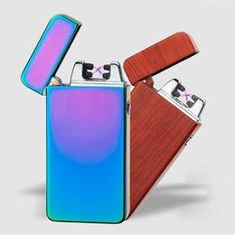 Wholesale Double Lighter - USB Electric Dual Arc Metal Flameless Torch Rechargeable Windproof Lighter Double Cross Ligthers Smoking lighter