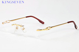 Wholesale Eyeglasses Frame Men Rimless - 2017 men buffalo horn sunglasses Rimless clear lens glasses women frames gold silver alloy metal frame eyeglasses gafas 52-18-140mm