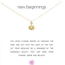 Wholesale gold lotus necklace - With card! Cute Necklace with Lotus pendant (new beginning), silver and gold color, free shipping and high quality.