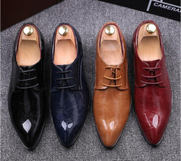 Wholesale Casual Shoes For Dresses Blue - 2017 NEW Men's Dress Shoes Luxury Mens Leather Casual Driving Oxfords Shoes Mens Loafers Moccasins Italian Shoes for Men Flats EUR38-45