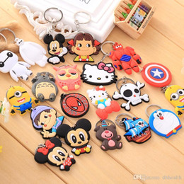 Wholesale Cute Cat Keychains - 20 style Baymax Spiderman Superman Doraemon cat KT cat owl Totoro Key chain creative pendant cartoon Anime key ring Heroes Cute and serious