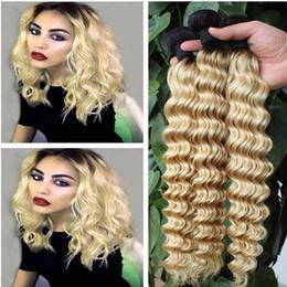 Wholesale Cheap Blonde Hair Extensions Dark - Cheap 9A Two Tone 1B 613 Platinum Blonde Dark Roots Ombre Brazilian Deep Wave Wavy Virgin Human Hair Weave Weft Extensions 3Pcs Lot