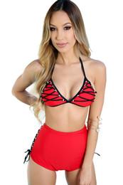 bikini xxxxl Rebajas Cobertura de Trangel de cintura alta con cordones en la parte de abajo empuja hacia arriba la parte superior de las mujeres de tiras bikini traje de halter en el cuello nadando XXXXL más tamaño
