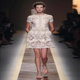Wholesale Nude Crochet - US UK 2017 summer fashion Designer runway Nude color Short sleeve Lace crochet Brief Mini Dress Classic Female vestido