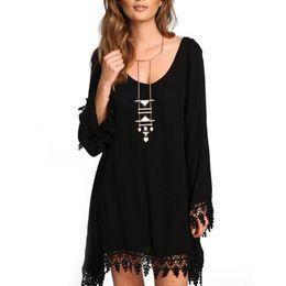 Wholesale Ladies Chiffon Sun Dresses - Wholesale- HOT SALE 2017 New Women Ladies Casual Loose Long Sleeve Tassel Black Party Dress vestidos Summer Boho Beach Maxi Sun Dresses Z2