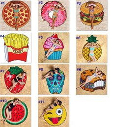 Wholesale pie designs - 11 Design round beach towel Skull Ice Cream Strawberry Smiley Emoji Pineapple Pie Watermelon Beach Shower Towel Blanket mat Towels wn062