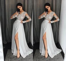 58cd91b4439 2018 New Elegant Grey V Neck Evening Dresses Lace Appliques Long Sleeves  Side Split Prom Dresses Cheap Party Gowns Floor Length BA6747