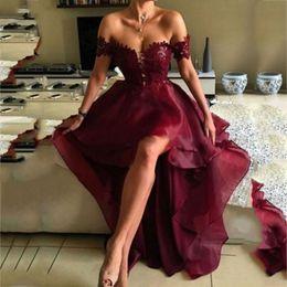 Wholesale High Low One Shoulder Dresses - Vestido de festa Fashion Off the Shoulder High Low Burgundy Backless Prom Dress with Lace Prom Evening Dresses Dress 2017