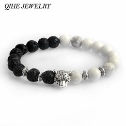 Wholesale Leopard Agate - QIHE JEWELRY White Black Colorful Weathering Agate Natural Stone Beads Bracelet With Leopard Lava Stone For Men Women pulseras