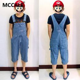 Wholesale Vintage Overalls For Men - Wholesale-Summer Mens Overalls Fashion Blue Baggy Plus Size 50 High Waist Multi Pockets Vintage Denim Bib Overalls Shorts For Men A002