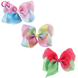 Wholesale Green Gifts For Kids - 5 Inch Pink&Blue Red& Green Rainbow Hair Bow With Clip For Kid Girl Gift Hair Accessories