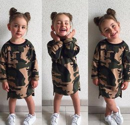 Wholesale Wholesale Childrens Cotton Tshirts - baby girl long t shirt camouflage army dresses 2017 kid summer autumn dress long sleeve girls tshirts cotton childrens boutique clothing
