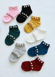 Wholesale pearl socks - Baby socks kids beaded ship socks fashion new girls candy color short sock children pearl cotton sock baby girl princess socks T4382