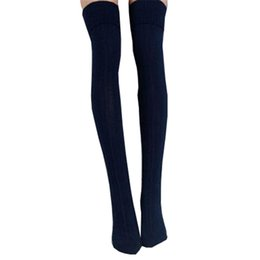 Wholesale Over Knees Knit Stocking - Wholesale- Sexy Warm Long Cotton Stocks Over Knee Stocking For Women Winter Knee High Thigh Knitted Stockings Striped Wool Braid Twist W041