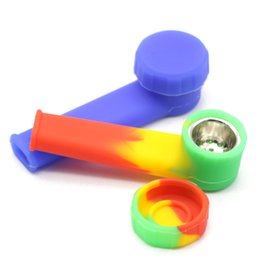 "Wholesale Wholesale Metal Pipe Bowls - 1Pcs 3.4"" Silicone Tobacco Pipe With Metal Filter Bowl Multicolor Cigarette Accessories Cheap Wholesale Gift Smoking Herb Pipe"