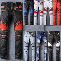 Wholesale Men S Ties Brown - Fashion Robin Zipper Jeans Men Classic Biker Jeans Wash Studded Cowboy Slim Denim Trousers with Wings American Flag Jean Mens Skinny Pants