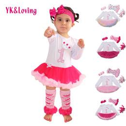 Wholesale Tutu St - Wholesale- 1 st Girls Bodysuit Baby Girl Clothes Baptism Dresses Pink Long Sleeve Dress baby body Clothing Tutu Clothes 4pcs set