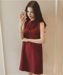 Wholesale Sleeveless Shirt Dress Korean - 2017 Black Red Women Girl's Summer Korean Hollow Casual A-Line Short Mini Dress Shirt Tops Cotton Sleeveless S-XXL Size