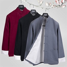 Wholesale Chinese Style Jackets Men - Men Frog Button Jacket Top Shirt Chinese Kung Fu Martial Arts Tai Chi Cotton New Style