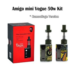 Wholesale Camouflage Kit - Authentic Amigo Mini Vogue 50W Mod Kits Camouflage Version Mini Vogue 50W Box Mod 2ml Mini Riptide Tank Portable E Cigs Vaporizer