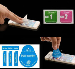 Wholesale Clean Iphone Glass - Free post Dry Wipes+Wet Wipes+Dust Absorber Sticker Cleaning Cloth For Tempered Glass Screen Protectors Tablet Camera LCD