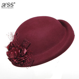 Wholesale Elegant Formal Hats - Wholesale-Womens Floral retro flowers style Winter British Wool Cap Beret Beanie Cloche Bucket Hat Autumn Winter Fashion elegant Ladies