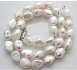 Wholesale Baroque Freshwater Pearl Necklace White - Woman 17'' Necklace 10mm white baroque pearl real natural freshwater pearl 42cm