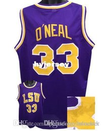 Wholesale Ice Hockey Outlet - Factory Outlet Cheap custom SHAQUILLE O'NEAL LSU Tigers Basketball Jerseys Purple yellow Stitched Customized Any Name And Number Jersey