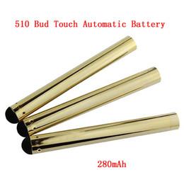 Wholesale Cigarette Automatic Battery - Automatic Gold Bud Touch Battery 510 Buttonless CE3 Battery 280mah Vaporizer vape pen Automatic Batteries for e cigarette Cartridges DHL